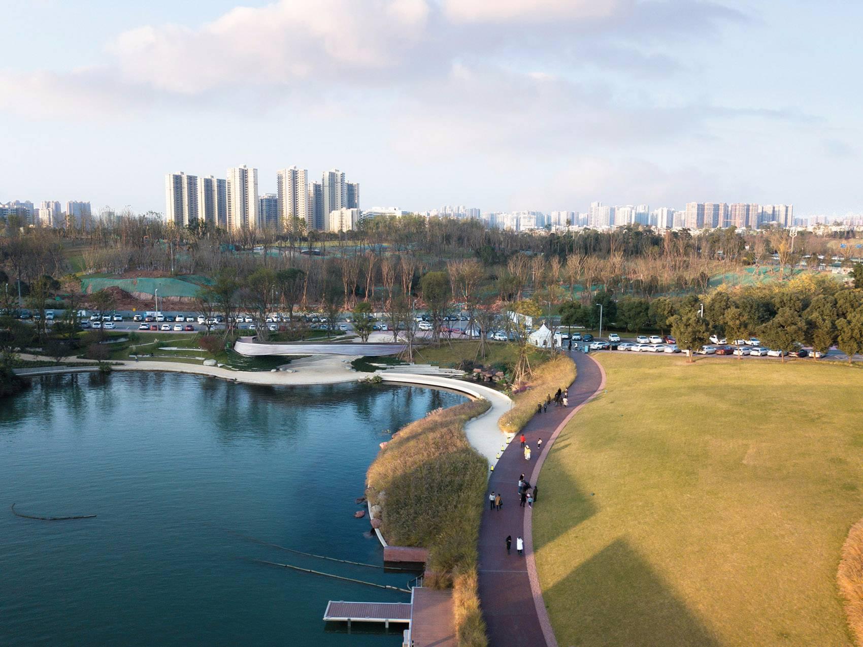 成都麓湖生态城G1艺展公园景观设计|GVL怡境条漫场景绘制图片